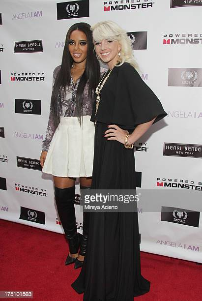 Angela Simmons and Lauriana Mae attend the Angela I Am launch at Henri Bendel on July 31 2013 in New York City