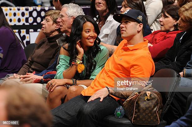 Angela Simmons and Robert Kardashian Jr attend a game between the Utah Jazz and the Los Angeles Lakers at Staples Center on April 2 2010 in Los...