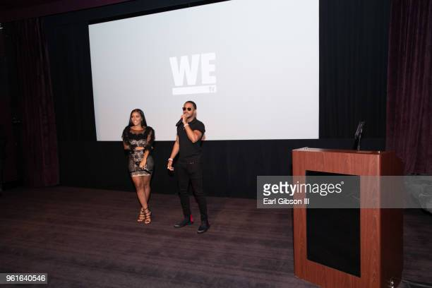 Angela Simmons and Romeo Miller speak onstage at the Premier of WEtv's Growing Up Hip Hop Season 4 on May 22 2018 in West Hollywood California