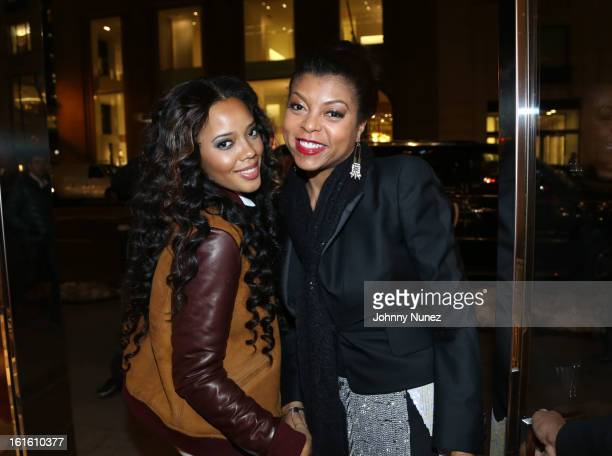 Angela Simmons and Taraji P Henson attend the Jason Bolden For SCHUTZ Launch at Schutz on February 12 2013 in New York City