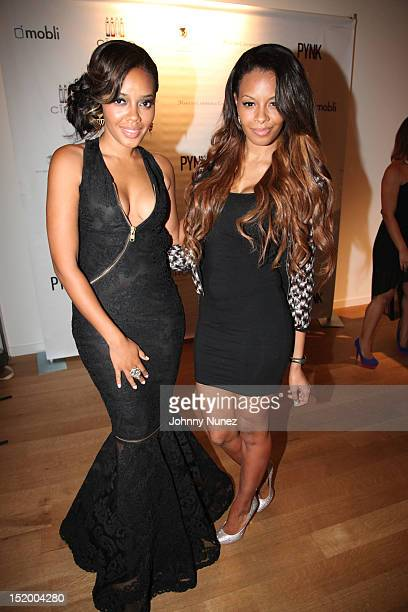 Angela Simmons and Vanessa Simmons attend Angela Simmons' 25th birthday celebration at the Martin Lawrence Gallery on September 14 2012 in New York...