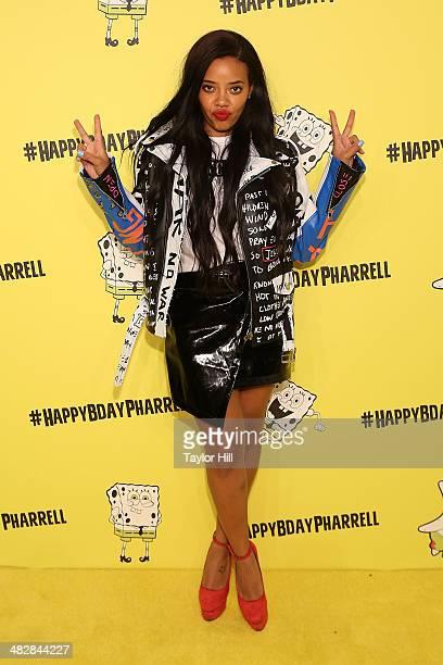 Angela Simmons attends Pharrell Williams' SpongeBobthemed 41st birthday party at Bikini Bottom at Cipriani Wall Street on April 4 2014 in New York...