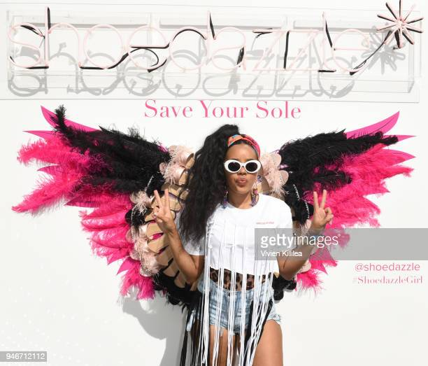 Angela Simmons attends ShoeDazzle's Dazzle in the Desert on April 15 2018 in Palm Springs California