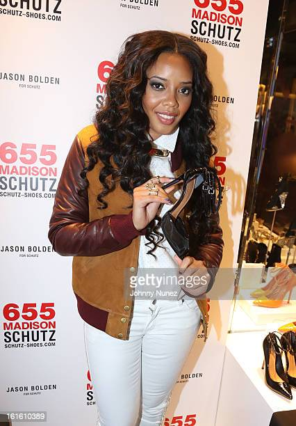 Angela Simmons attends the Jason Bolden For SCHUTZ Launch at Schutz on February 12 2013 in New York City