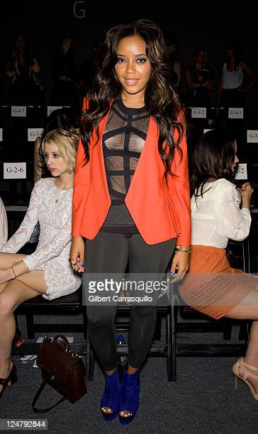 Angela Simmons attends the Rebecca Minkoff Spring 2012 fashion show during Mercedes-Benz Fashion Week at The Studio at Lincoln Center on September...