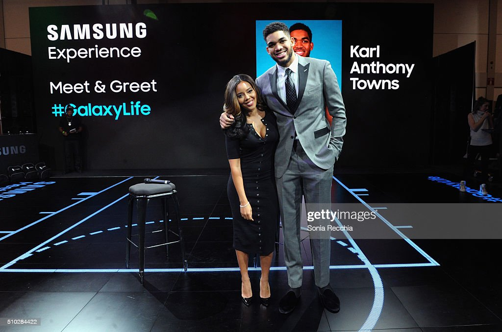 Angela Simmons interviews Karl Anthony Towns who appeared at the Samsung Experience wearing his new Gear S2 Platinum during NBA All Stars 2016 on February 14, 2016 in Toronto, Canada.