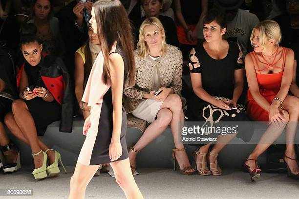 Angela Simmons Kelly Rutherford Tiffani Thiessen and Hofit Golan attend the Vivienne Tam fashion show during MercedesBenz Fashion Week Spring 2014 at...