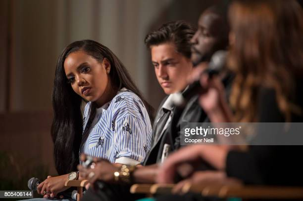 Angela Simmons looks on at the Hollywood's Millennials International Faith Family Film Festival Rising Stars panel during MegaFest at Omni Hotel on...