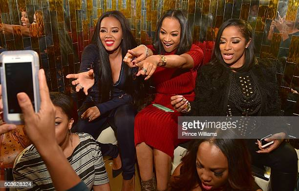 """Angela Simmons, Monyetta Shaw and Antonia 'Toya' Wright attend the ATL Premiere Of WE Tv's """"Growing Up Hip Hop"""" after party at Whiskey Park at W..."""
