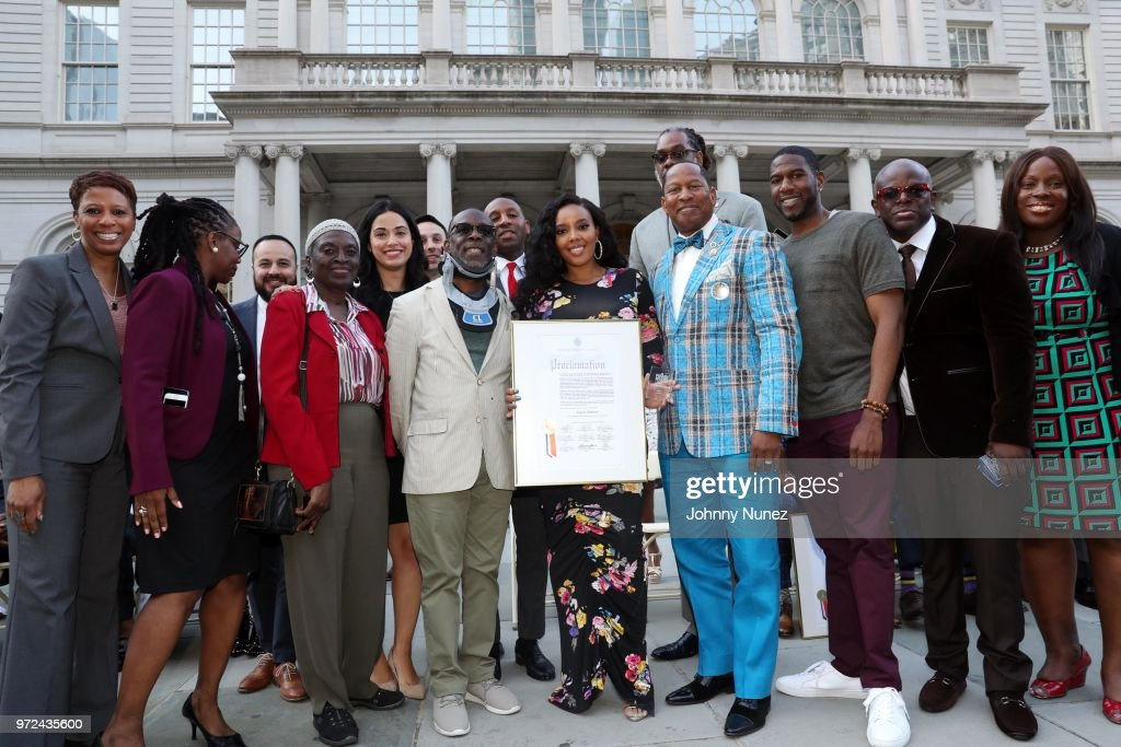 Angela Simmons (c) New York City Council Member Andy King (4th r) attend the 3rd Annual Influence Awards at City Hall on June 11, 2018 in New York City.