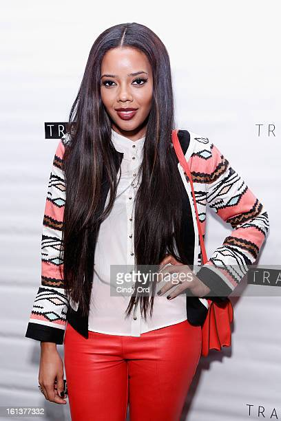 Angela Simmons poses backstage at the Tracy Reese Fall 2013 fashion show during MercedesBenz Fashion Week at The Studio at Lincoln Center on February...
