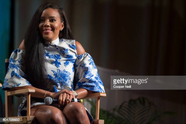 Angela Simmons speaks during the Women in Hollywood panel during the MegaFest International Faith Family Film Festival at Omni Hotel on June 30 2017...
