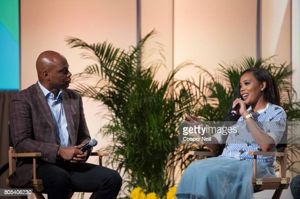 Angela Simmons speaks with Kevin Frazier at the Hollywood's Millennials International Faith Family Film Festival Rising Stars panel during MegaFest...