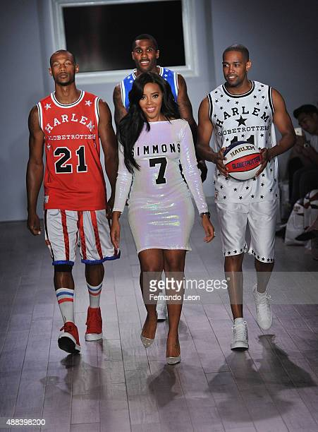 Angela Simmons takes a bow after the Angela Simmons presents The Harlem Globetrotters 90th Anniversary and Foofi collection fashion show during the...