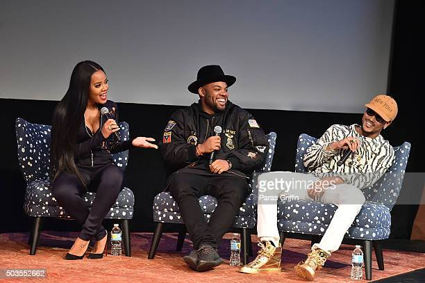 Angela Simmons TJ Mizell and Romeo Miller onstage at Growing Up Hip Hop Atlanta premiere at SCADshow on January 5 2016 in Atlanta Georgia