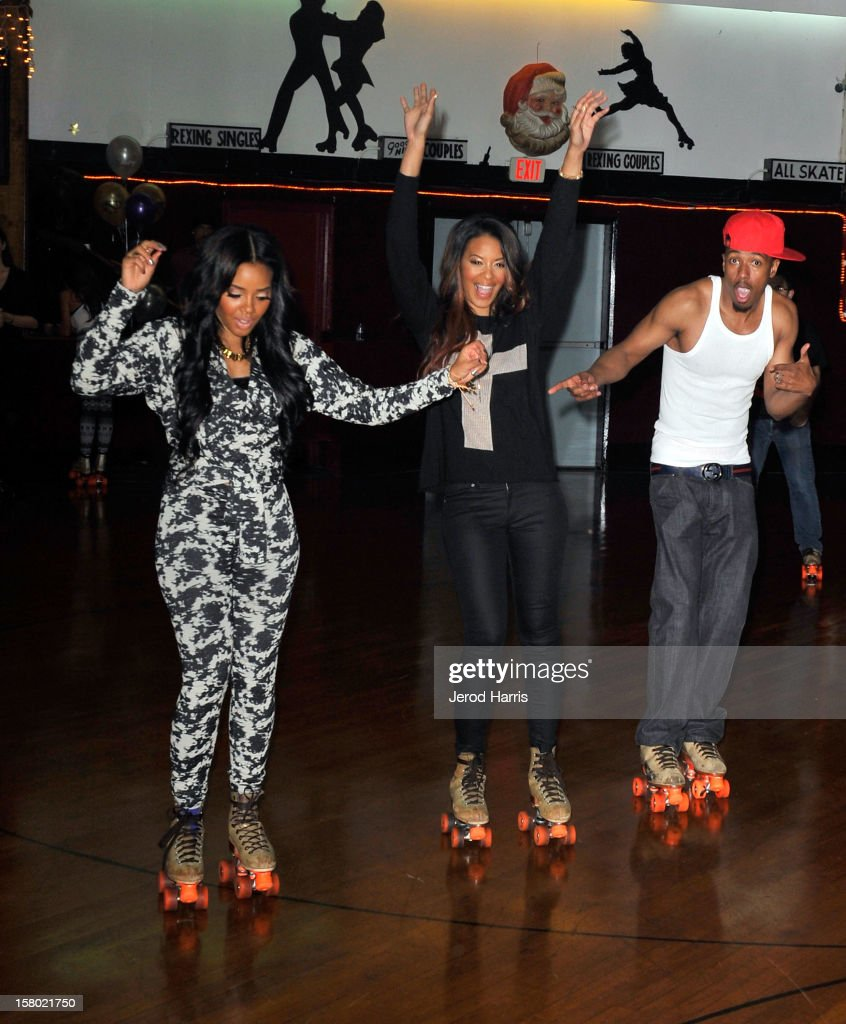 Angela Simmons, Vanessa Simmons and Nick Cannon rollerskate at Pastry Shoes 'Skate & Donate' benefitting Toys For Tots on December 8, 2012 in Glendale, California.