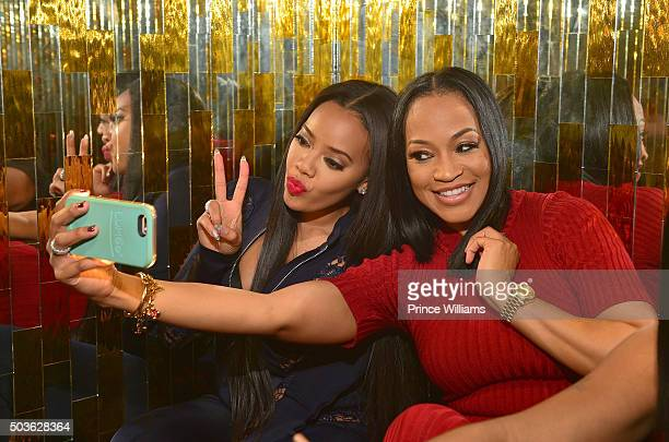 """Angela Simons and Monyetta Shaw attend the ATL Premiere Of WE Tv's """"Growing Up Hip Hop"""" after party at Whiskey Park at W Atlanta - Midtown on January..."""