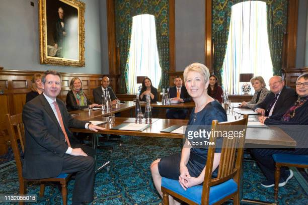 Angela Smith and Chris Leslie at The Independent groups first meeting at 1 George Street Westminster London on February 25 2019 in London England The...