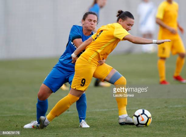 Angela Smuczer of MTK Hungaria FC fights for the ball with Alina Litvinenko of WFC BIIKKazygurt during the UEFA Women's Champions League Qualifying...