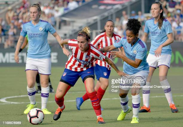 Angela Sosa of Atletico de Madrid is defended by Demi Stokes of Manchester City Women during the International Champions Cup third place match at...