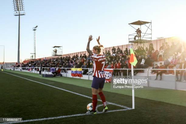 Angela Sosa of Atletico de Madrid prepares for shoot a corner during the Spanish League, Primera Iberdrola, women football match played between...