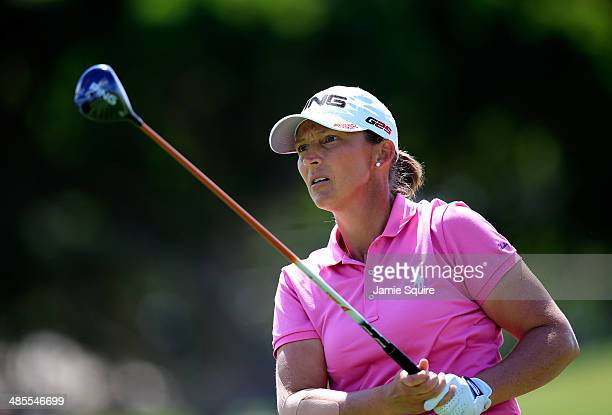 Angela Stanford hits her second shot on the 13th hole during the third round of the LPGA LOTTE Championship Presented by J Golf on April 18 2014 in...