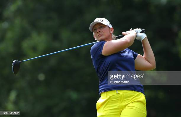 Angela Stanford hits her tee shot on the fourth hole during the third round of the Kingsmill Championship presented by JTBC on the River Course at...