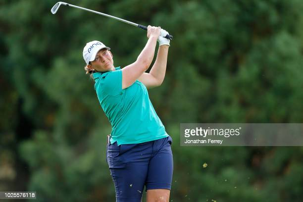 Angela Stanford hits on the 2nd hole during the second round of the LPGA Cambia Portland Classic at Columbia Edgewater Country Club on August 31 2018...