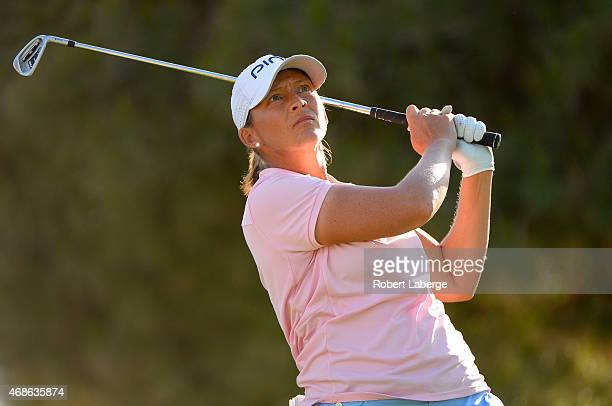 Angela Stanford makes a the shot on the 17th hole during round three of the ANA Inspiration on the Dinah Shore Tournament Course at Mission Hills...