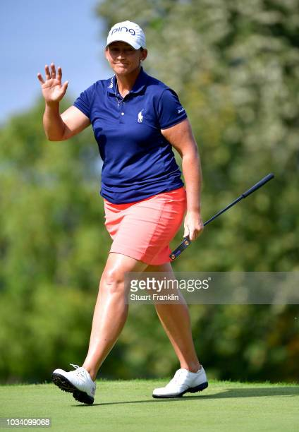 Angela Stanford of the United States acknowledges the crowd during Day Four of The Evian Championship 2018 at Evian Resort Golf Club on September 16...
