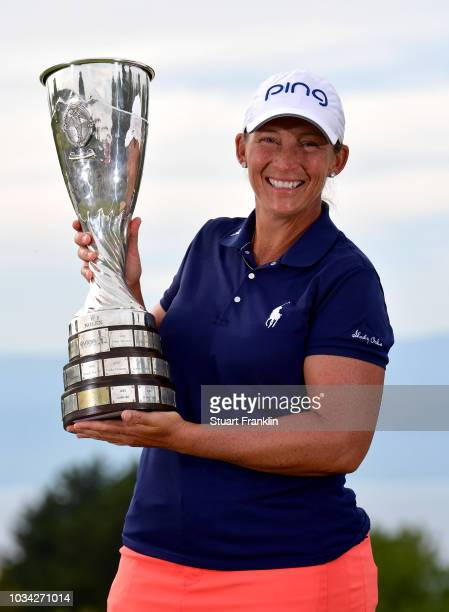 Angela Stanford of the United States celebrates winning the Evian Championship with the trophy during Day Four of The Evian Championship 2018 at...