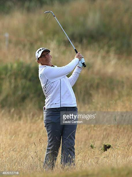 Angela Stanford of the United States hits her 2nd shot on the 2nd hole during the second round of the Ricoh Women's British Open at Royal Birkdale on...