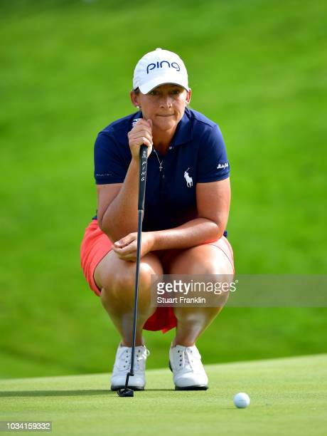 Angela Stanford of the United States lines up a putt during Day Four of The Evian Championship 2018 at Evian Resort Golf Club on September 16 2018 in...