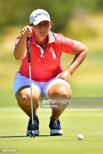 Angela Stanford of the United States lines up a putt shot during round one of the ISPS Handa Women's Australian Open at Royal Adelaide Golf Club on...