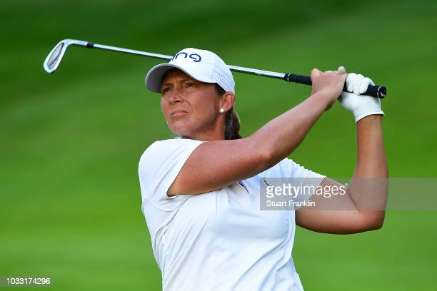 Angela Stanford of The United States plays a shot during day two of the Evian Championship at Evian Resort Golf Club on September 14 2018 in...