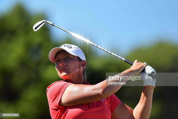 Angela Stanford of the United States plays a shot during round one of the ISPS Handa Women's Australian Open at Royal Adelaide Golf Club on February...