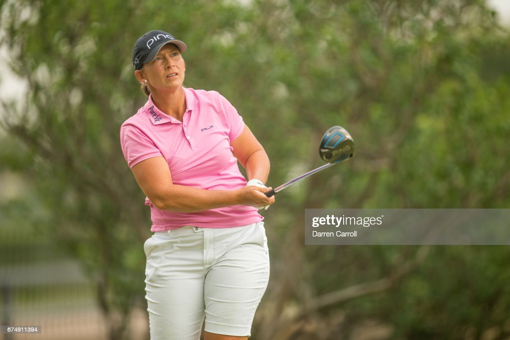Angela Stanford of the United States plays her tee shot at the second hole during the third round of the Volunteers of America North Texas Shootout at Las Colinas Country Club on April 29, 2017 in Irving, Texas.