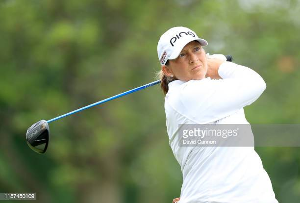 Angela Stanford of the United States plays her tee shot on the par 5 15th hole during the second round of the 2019 KPMG Women's PGA Championship at...
