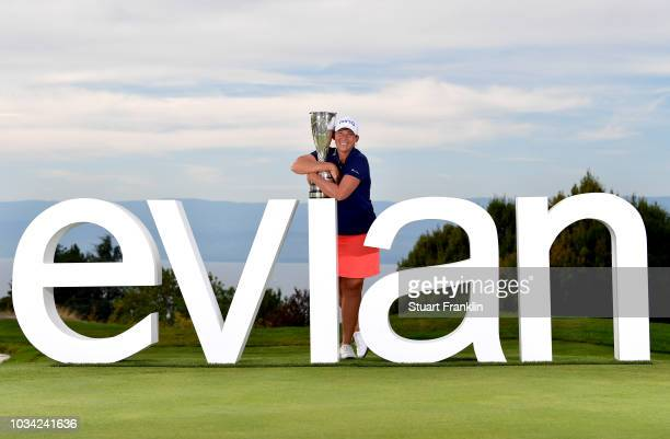 Angela Stanford of the United States poses after winning the Evian Championship during Day Four of The Evian Championship 2018 at Evian Resort Golf...