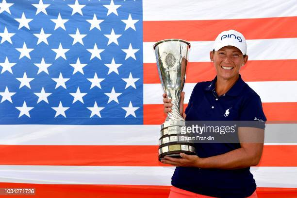 Angela Stanford of the United States poses with the trophy after victory in the Evian Championship during Day Four of The Evian Championship 2018 at...