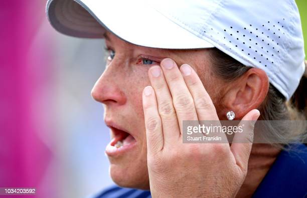 Angela Stanford of the United States reacts to winning hte Evian Championship during Day Four of The Evian Championship 2018 at Evian Resort Golf...