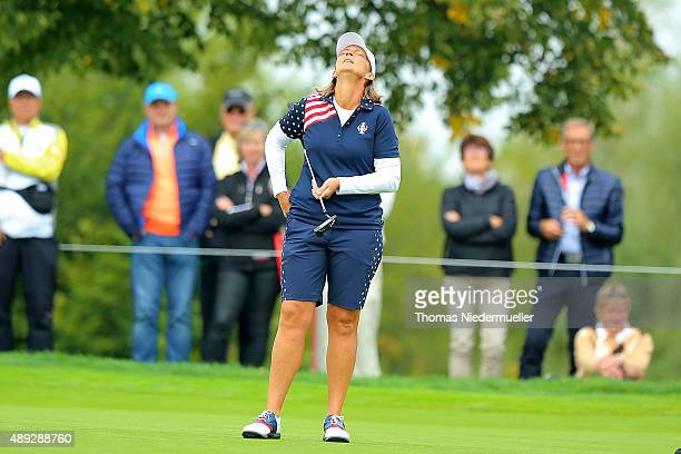 Angela Stanford of the United States Team reacts at the first green during the Sundays single matches in the 2015 Solheim Cup at St LeonRot Golf Club...