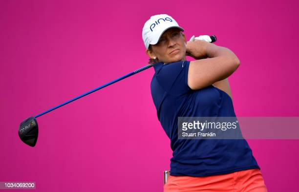 Angela Stanford of the United States tees off during Day Four of The Evian Championship 2018 at Evian Resort Golf Club on September 16 2018 in...