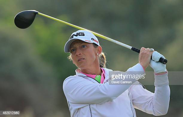 Angela Stanford of the United States tees off on the 2nd hole during the second round of the Ricoh Women's British Open at Royal Birkdale on July 11...