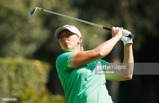 Angela Stanford of the United States watches her tee shot on the third hole during the first round of the Lorena Ochoa Invitational Presented By...