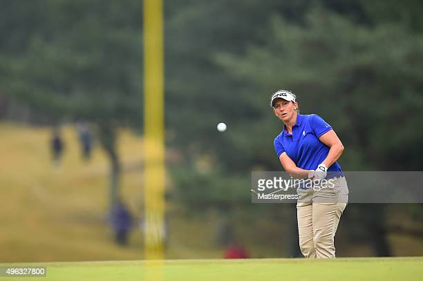 Angela Stanford of the USA chips onto the 18th green during the third round of the TOTO Japan Classics 2015 at the Kintetsu Kashikojima Country Club...