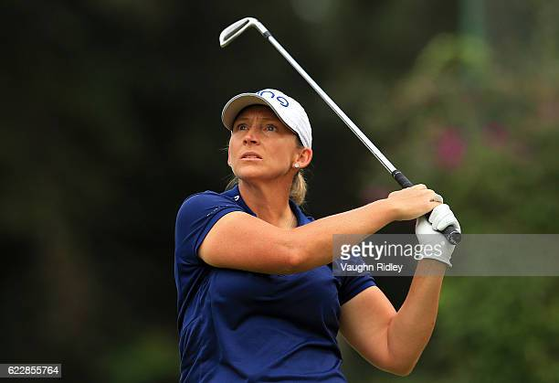 Angela Stanford of the USA hits her 1st shot on the 3rd hole during the third round of the Citibanamex Lorena Ochoa Invitational Presented By...