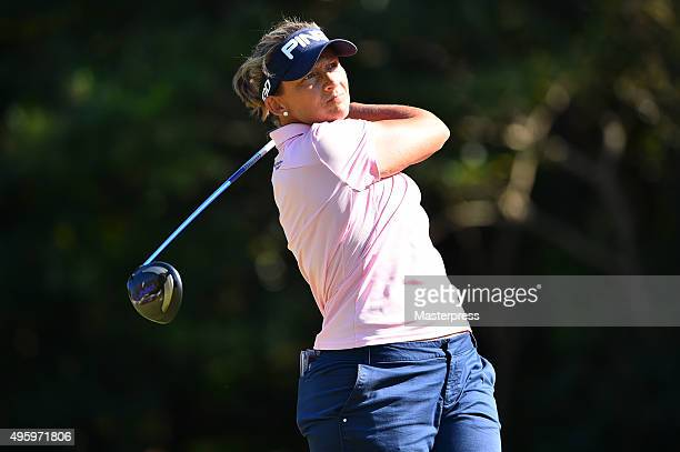 Angela Stanford of the USA hits her tee shot on the 9th hole during the first round of the TOTO Japan Classics 2015 at the Kintetsu Kashikojima...