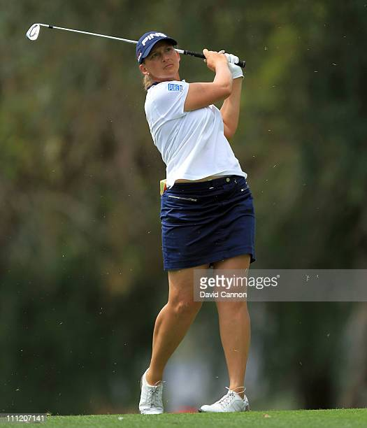 Angela Stanford of the USA in action during the proam for the 2011 Kraft Nabisco Championship on the Dinah Shore Championship Course at the Mission...