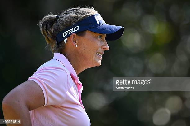 Angela Stanford of the USA looks on during the first round of the TOTO Japan Classics 2015 at the Kintetsu Kashikojima Country Club on November 6...
